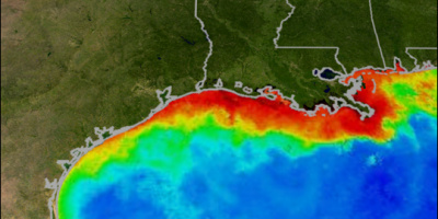 Image: MOAA, Satellite image and illustration of a dead zone in the southern U.S., Wikimedia Commons, Public Domain